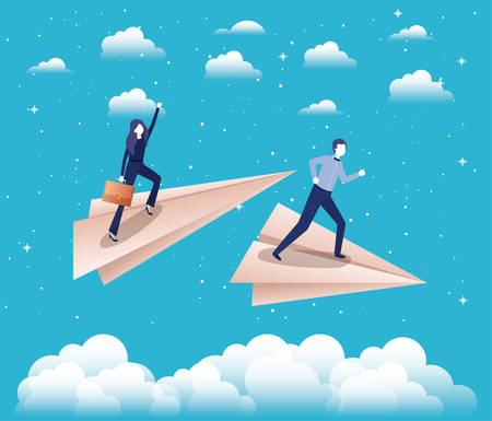 business couple in the sky with paper airplane vector illustration design Illustration