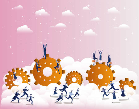 business people competing with gears vector illustration design Stock Illustratie