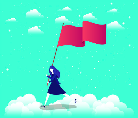 businesswoman with flag competing in the sky vector illustration design Illustration