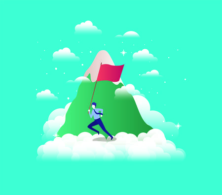 businessman with flag competing in the sky and mountain vector illustration