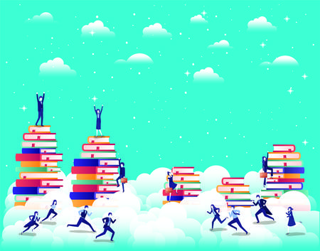 business people team with text books in the sky vector illustration design