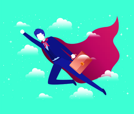 businessman with hero coat flying in the sky vector illustration design