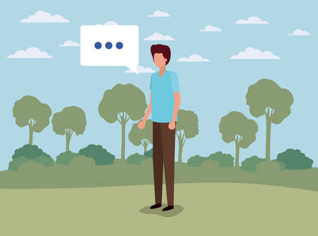 young man with speech bubble on the camp vector illustration design