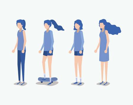 group of girls avatars characters vector illustration design Stock fotó - 126831352