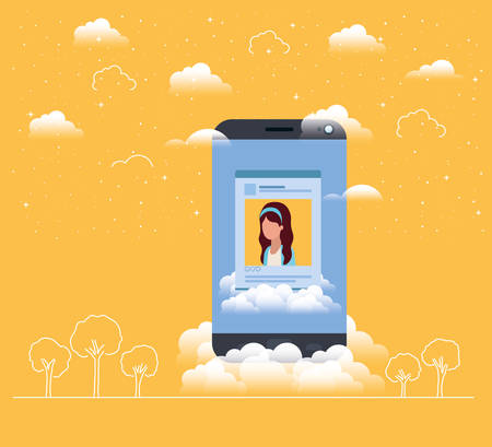 social media acount woman template vector illustration design Ilustración de vector