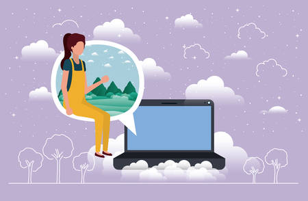 laptop with woman in speech bubble vector illustration design