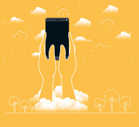 hands using smartphone in the sky vector illustration design