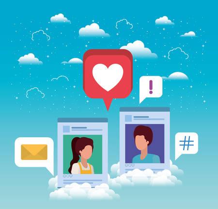 social media couple acounts templates vector illustration design