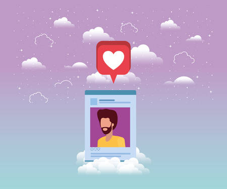 social media man acount template vector illustration design