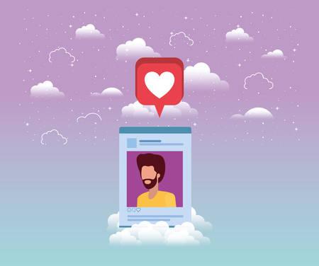 social media man acount template vector illustration design