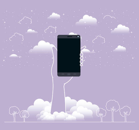 hand lifting smartphone in the sky vector illustration design Vectores