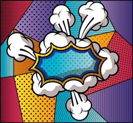 expressie wolk met set patronen pop-art stijl vector illustratie ontwerp