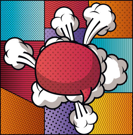 Discurso de burbuja y establecer patrones de estilo pop art, diseño de ilustraciones vectoriales Ilustración de vector