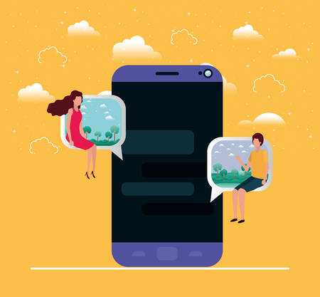 smartphone with couple seated in speech bubble vector illustration design