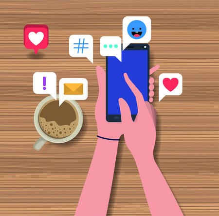 hands using smartphone with coffee cup and social icons vector illustration