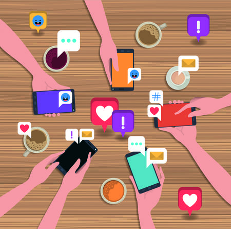 people using smartphone with coffee cup and social icons vector illustration