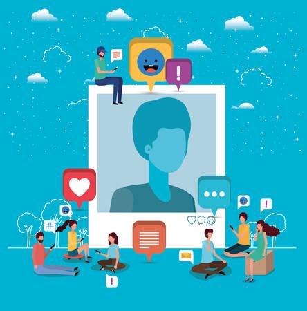 Comunidad social con diseño de ilustración de vector de imagen de perfil de hombre Ilustración de vector