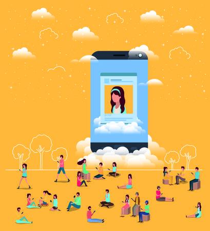 social community with smartphone vector illustration design