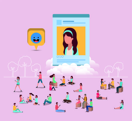 comunità sociale con immagine del profilo di donna illustrazione vettoriale design