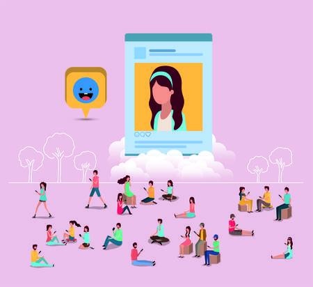 soziale Gemeinschaft mit Frauenprofilbild-Vektor-Illustrationsdesign