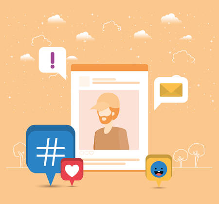 picture of man in acount with trend set icons vector illustration design Vektorgrafik