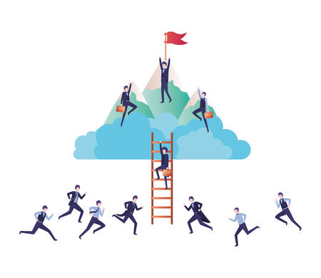 businessmen with mountain and stair vector illustration desing