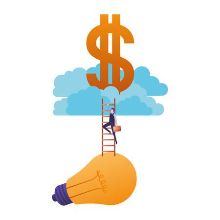 hombre de negocios, con, escalera, y, dólar, señal, avatar, carácter, vector, ilustración, diseño