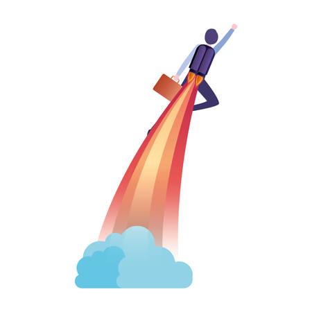 businessman with rocket avatar character vector illustration desing Ilustração