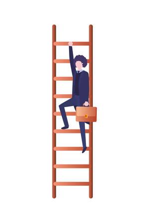 Geschäftsmann mit Treppen-Avatar-Charakter-Vektor-Illustration-Design