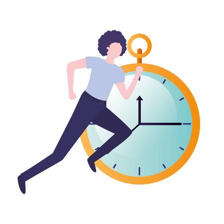 businessman with clock avatar character vector illustration desing Illustration