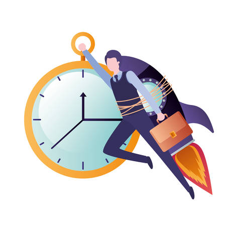 businessman on rocket and clock avatar character vector illustration desing