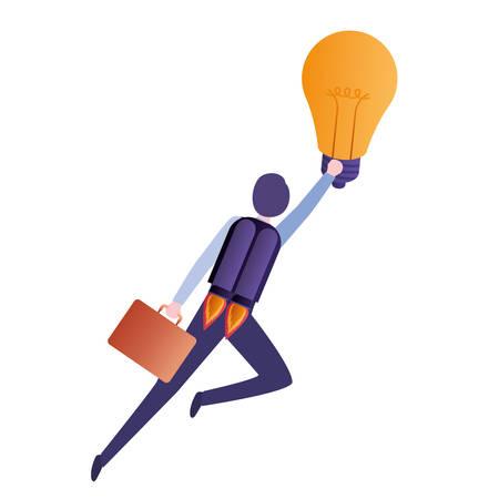 businessman on rocket and light bulb vector illustration desing