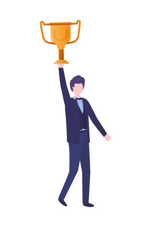 businessman  with trophy avatar character vector illustration desing Illustration