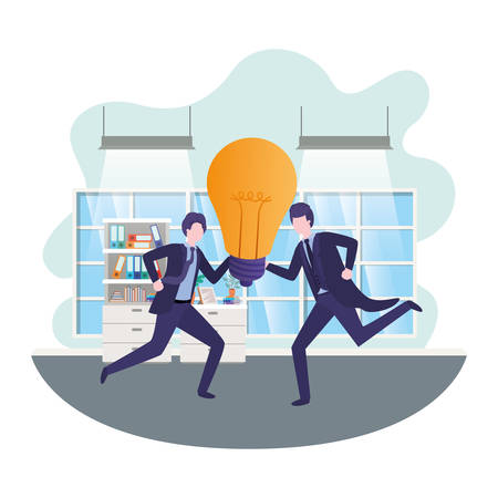 businessmen with lightbulb in living room vector illustration desing