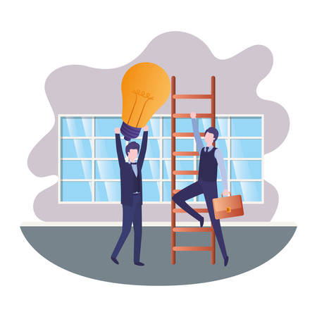 businessmen with stair and light bulb in living room vector illustration desing