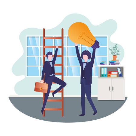 businessmen with stair and light bulb in living room vector illustration desing 스톡 콘텐츠 - 126813464