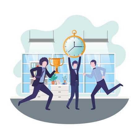 hommes d'affaires avec réveil et trophée dans la conception d'illustration vectorielle de salon
