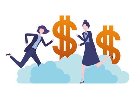 businesswomen with dollar sign avatar character vector illustration desing Vektorgrafik