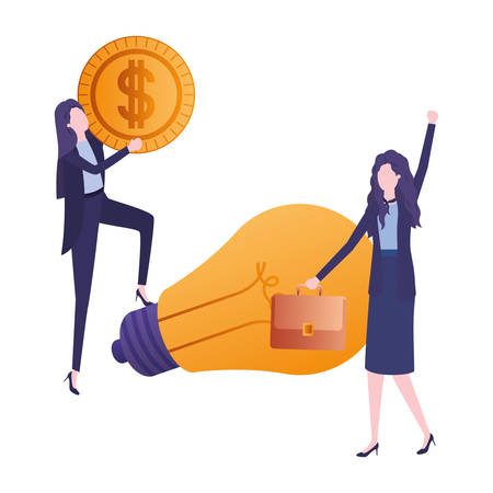 businesswomen with dollar and light bulb vector illustration desing
