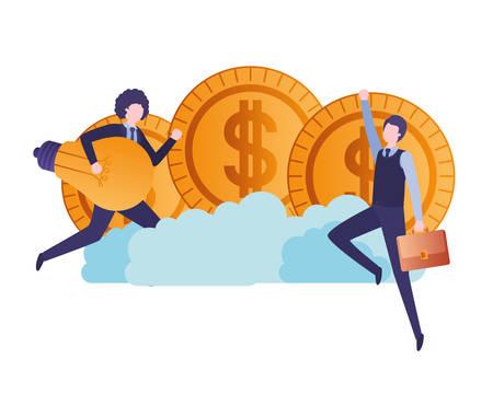Geschäftsleute mit Dollarzeichen und Glühbirne Vector Illustration Design