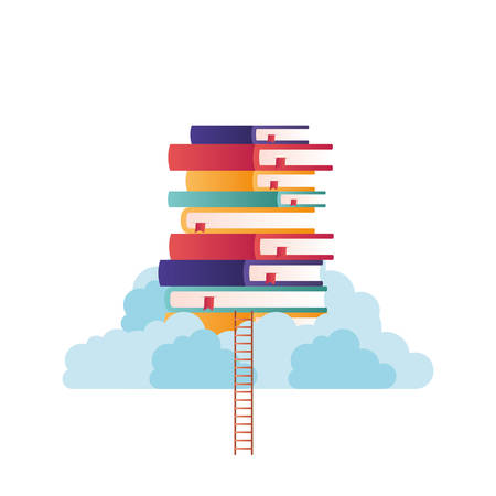 stack of books on top of cloud isolated icon vector illustration design