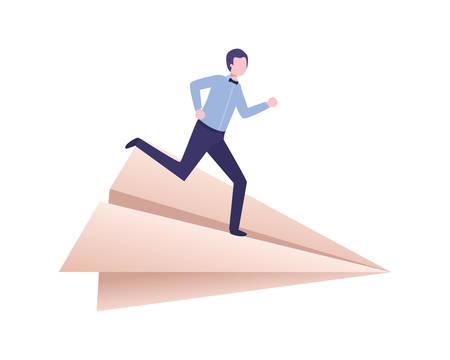 business man on paper plane avatar character vector illustration design