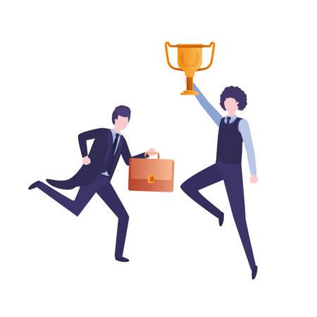 businessmen with trophy avatar character vector illustration desing Illustration