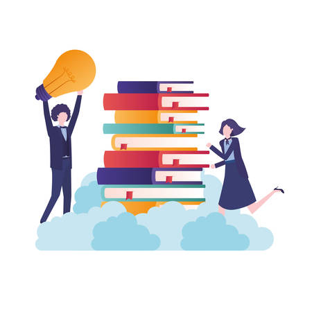 business couple with books avatar character vector illustration desing Ilustrace