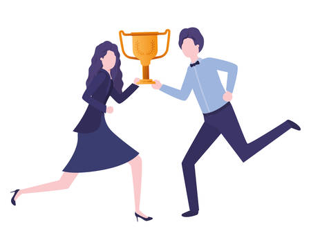 business couple with trophy avatar character vector illustration desing
