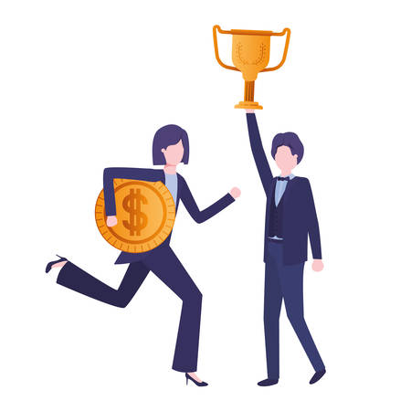 business couple with trophy and coin character vector illustration desing