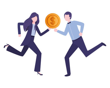 business couple with coin avatar character vector illustration desing