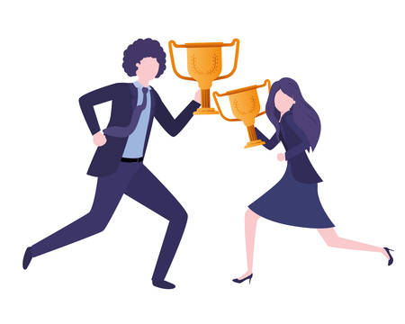 business couple with trophies avatar character vector illustration desing Иллюстрация