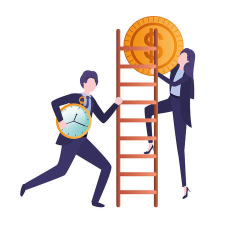 business couple with dollar sign and stair vector illustration desing Illustration