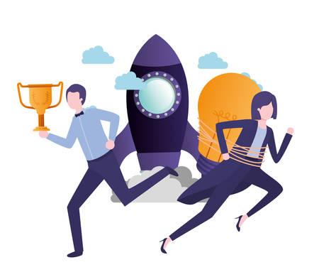 business couple with set icons vector illustration design Vektorové ilustrace